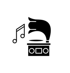 gramophone black icon sign on isolated vector image