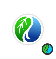 Green leaf and blue water drop symbol vector