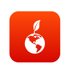 green world qlobe with leaf icon digital red vector image