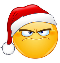 grumpy emoticon with santa hat vector image