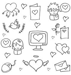 Hand draw of love doodles vector