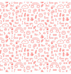 hand drawn seamless pattern on love theme design vector image