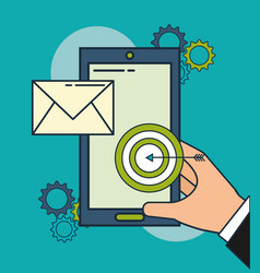 hand with smartphone email target digital vector image