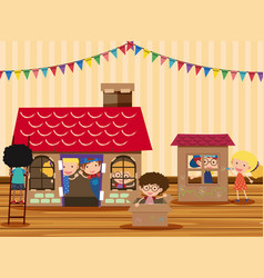 Happy children playing in playhouse vector