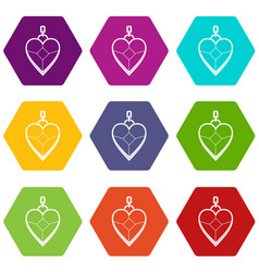 heart shaped pendant icon set color hexahedron vector image
