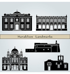 Heraklion landmarks and monuments vector image