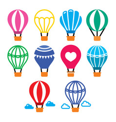 Hot air balloon and color icons set vector