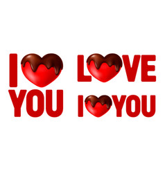 I love you calligraphy lettering set with heart vector