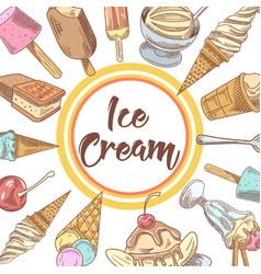 ice cream and cold desserts hand drawn menu vector image