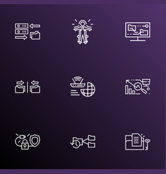 Information technology icons line style set with vector