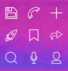 Interface icons line style set with mike forward vector