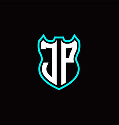 j p initial logo design with shield shape vector image