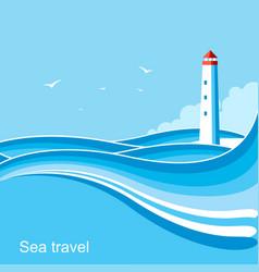 lighthousesea waves blue background vector image