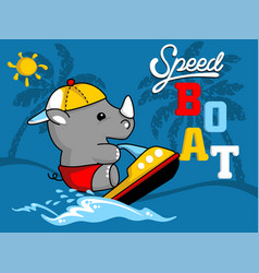 little rhino cartoon playing speed boat vector image