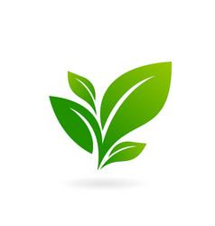 logo green leaf ecology nature element vector image
