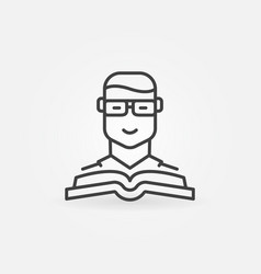 Man with a book icon vector