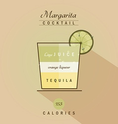 Margarita cocktail drink recipe in trendy retro vector