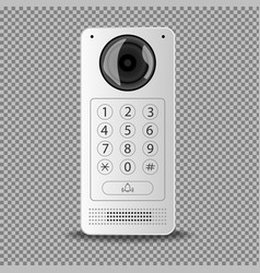 Modern intercom with a white camera on a vector