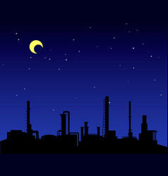 Oil refinery industry silhouette at night vector