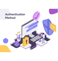 Online shopping authentication method modern vector