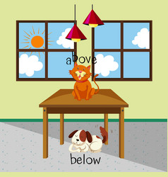 Opposite words for above and below with cat vector