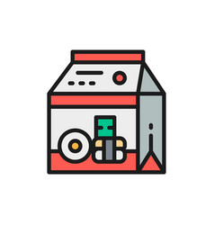 Packing for sweets and donuts takeaway flat color vector