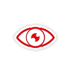 paper sticker on white background human eye vector image