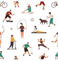 people performing different sports exercises vector image