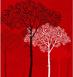 Pine silhouette on red background vector