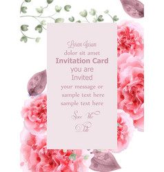 pink roses card watercolor vertical vector image