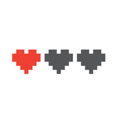 Pixel art style retro game life hearts isolated vector