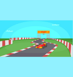 race competition horizontal banner cartoon style vector image