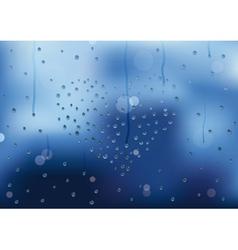 Rain drops in heart shape on a window pain vector image