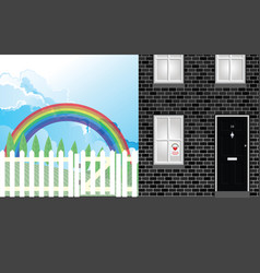 Rainbow symbol support in house window vector