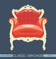 Red and yellow classic armchair over dark backgrou vector image