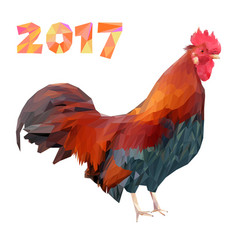 Rooster and 2017 numbers in polygon style low vector