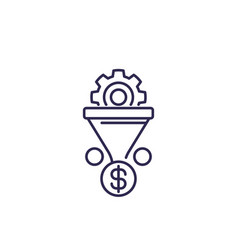 sales funnel icon on white line vector image