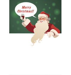 santa claus holding a glass wine-01 vector image