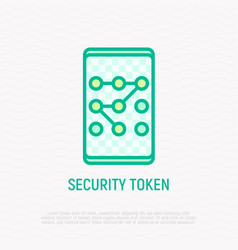 security token graphic key on smartphone icon vector image
