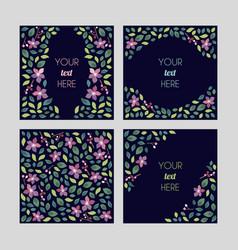 set cards with floral design elements wedding vector image
