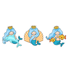 set of beautiful mermaid princesses with fish vector image