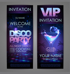 set of disco background banners cocktail disco vector image