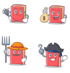Set of red book character with doctor money bag vector