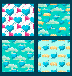 set with cute cloud cartoon seamless pattern vector image