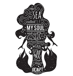 Silhouette of mermaid with inspirational quote vector