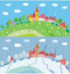 spring and winter landscape vector image
