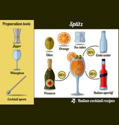 Spritz cocktail infographic set recipe vector