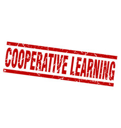 Square grunge red cooperative learning stamp vector