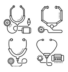 stethoscope icon set outline style vector image
