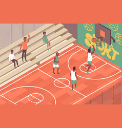 street basketball court composition vector image
